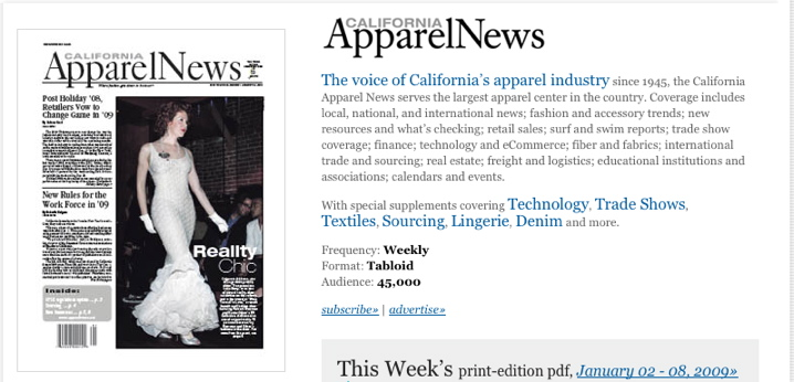Calpernia on the Cover of California Apparel News