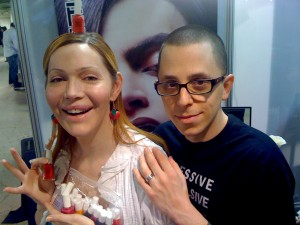 Calpernia and David at Obsessive Compulsive Cosmetics booth for Makeup Show LA 2010