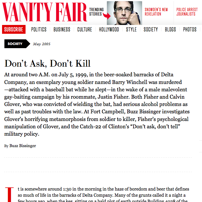 Vanity Fair Confidential: Don't Ask Don't Kill